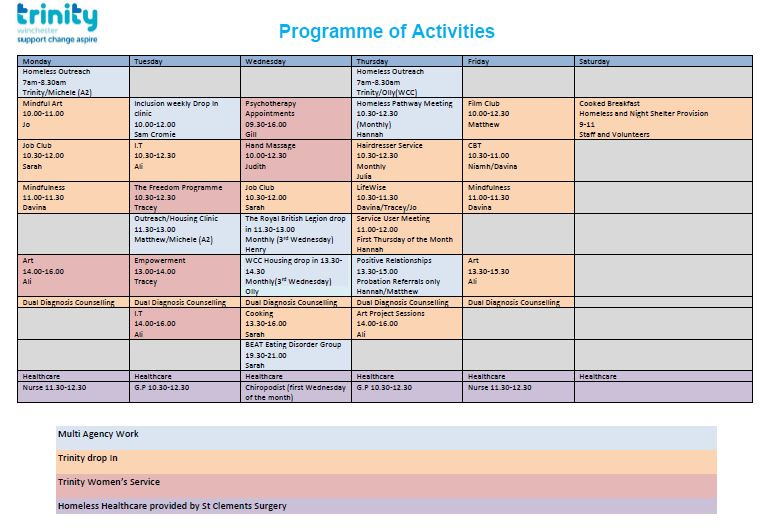Trinity timetable of activities