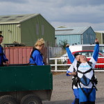 Louise celbrating her landing